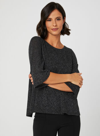 ¾ Sleeve Knit Top, Grey, hi-res