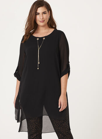 ¾ Sleeve Chiffon Eyelet Detail Tunic Top , Black, hi-res