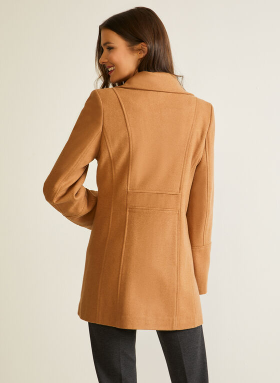 Structured Wool Blend Coat, Brown