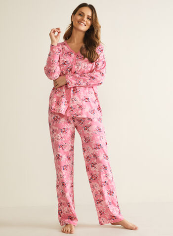 Floral Print Pyjama Set, Multi,  pyjamas, sleepwear, 2 piece, floral print, long sleeves, scoop neck, buttons, fall winter 2020