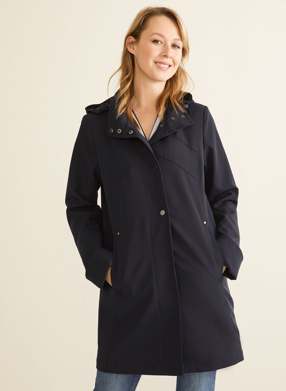 Long Sleeve Hooded Raincoat , Blue