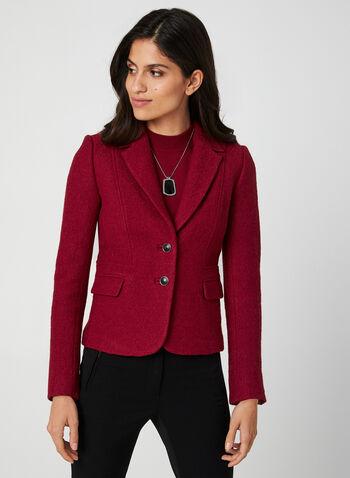 Blazer en laine bouillie, Rouge,  col cranté, manches longues, poches, boutons, automne hiver 2019