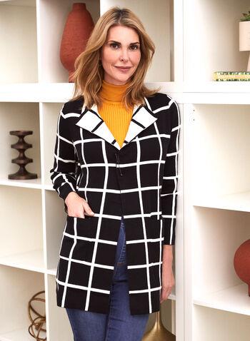 Cardigan à carreaux contrastants, Noir,  automne hiver 2020, cardigan, manches longues, revers, ouvert, poches, carreaux, carreauté, motif, tricot