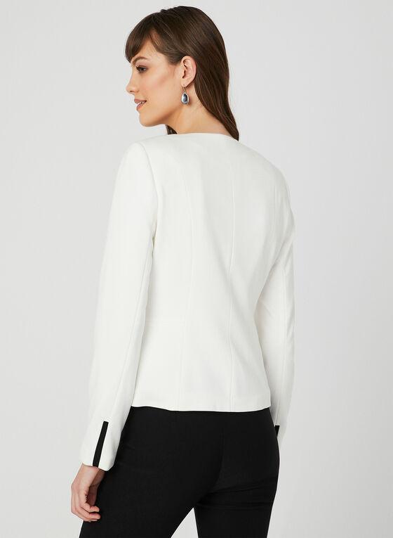 Contrast Trim Jacket, Off White, hi-res