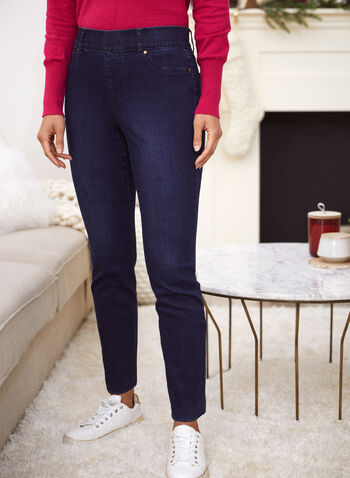 Straight Leg Pull-On Jeans, Blue,  fall winter 2021, jeans, denim, pull on, pants, slim leg, pockets, zipper, faux zipper, stretch