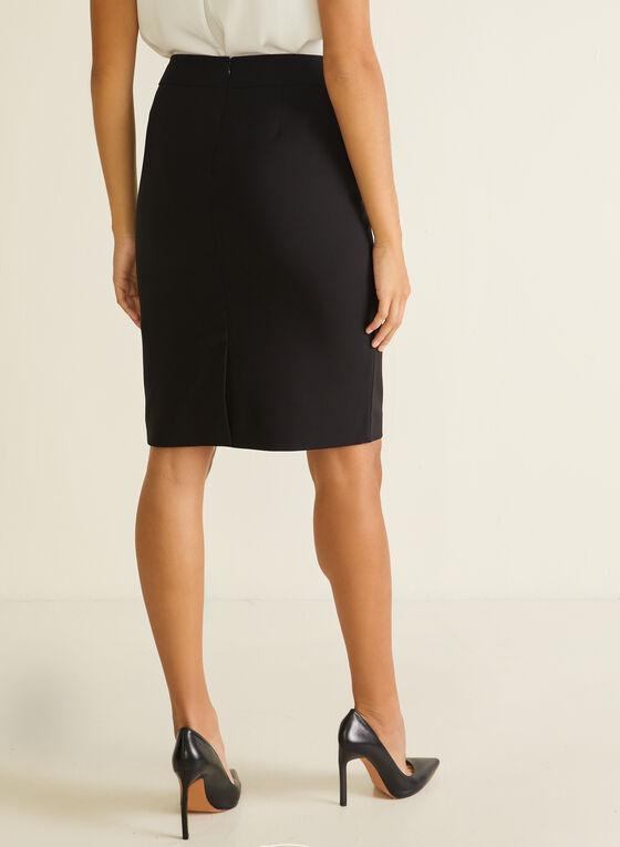 Zip Closure Straight Skirt, Black