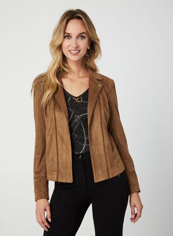 Blazer en faux daim à détails zippés, Brun, hi-res,  blazer, faux daim, manches 3/4, zip, automne hiver 2019