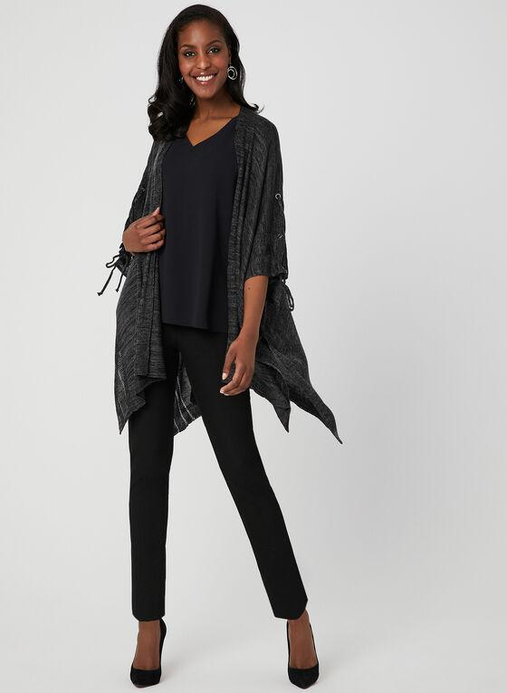 Cape en tricot à œillets et liens, Noir, hi-res
