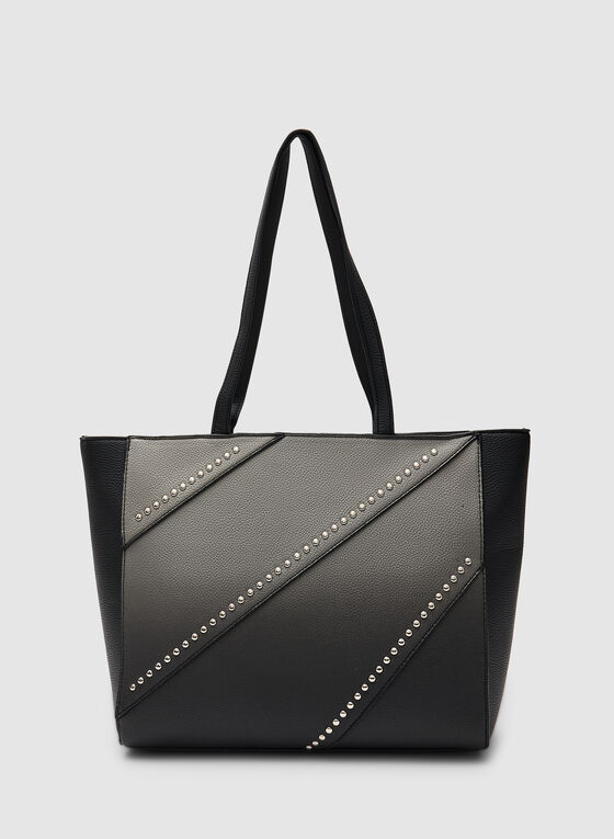 Stud Detail Tote Bag, Black, hi-res