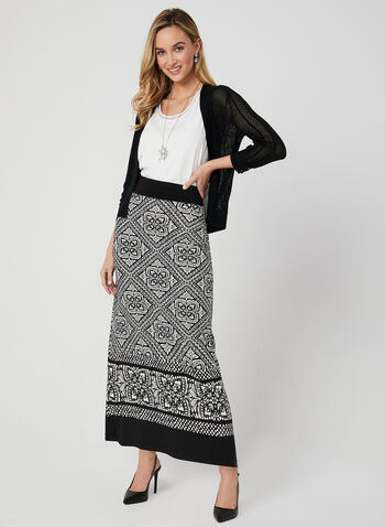 Tile Print Maxi Skirt, Black, hi-res