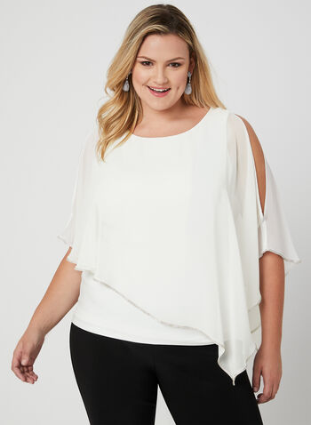 Frank Lyman - Crystal Trim Poncho Blouse, Off White, hi-res