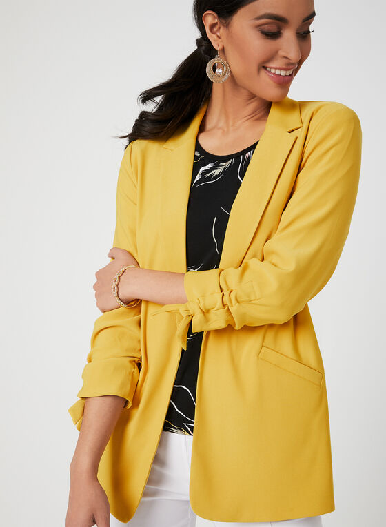 ¾ Sleeve Notch Collar Blazer, Yellow