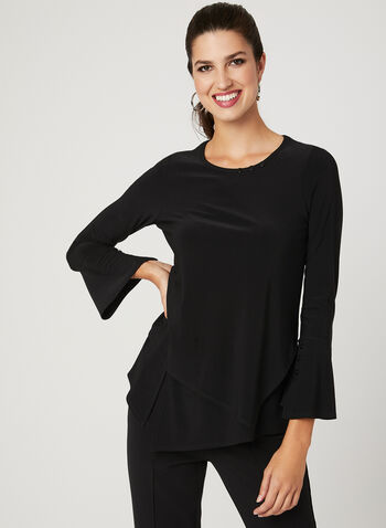 Picadilly – Asymmetric Long Sleeve Top, Black, hi-res