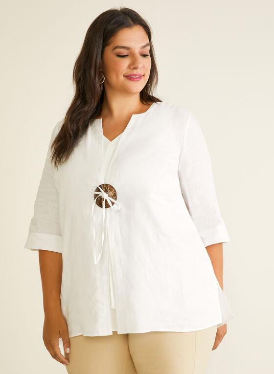 Linen Single Button Jacket, White