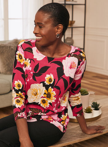 3/4 Sleeve Floral Print Top , Red,  top, 3/4 sleeves, flowers, boat neck, knit, spring 2020