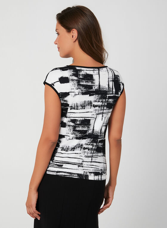 Abstract Print Top, Black