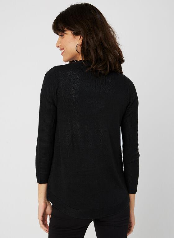 Cardigan en tricot ottoman, Noir, hi-res