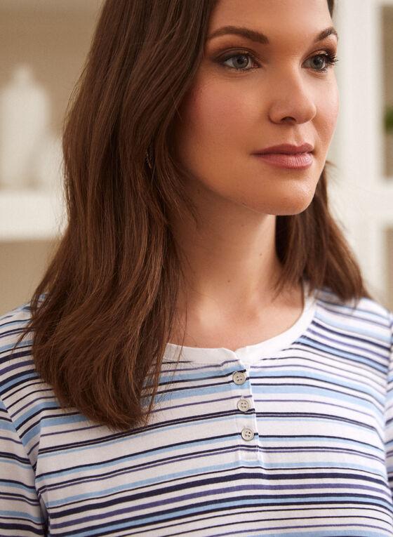 Striped Button Detail Cotton Top, Multi
