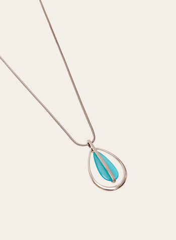 Snake Chain Pendant Necklace, Blue, hi-res