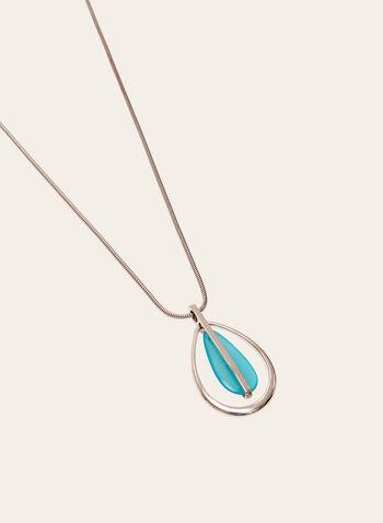 Collier avec ajour et pendentif en goutte d'eau colorée, Bleu, hi-res