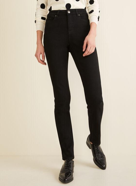 Jeans taille haute à jambe droite, Noir