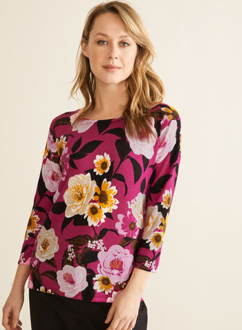 3/4 Sleeve Floral Print Top, Red,  top, 3/4 sleeves, flowers, boat neck, knit, spring 2020
