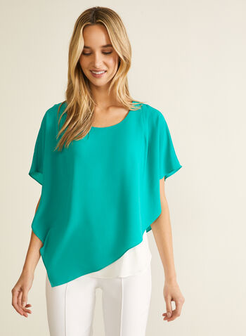 Blouse asymétrique à manches cape , Vert,  blouse, asymétrique, haut, manches cape, crêpe, encolure arrondie, printemps 2021