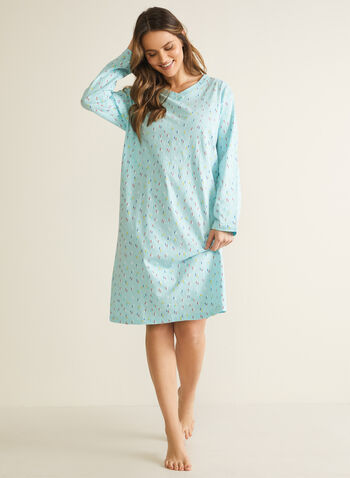 Confetti Print Nightgown, Blue,  pyjamas, sleepwear, nightgown, confetti print, long sleeves, v-neck, fall winter 2020