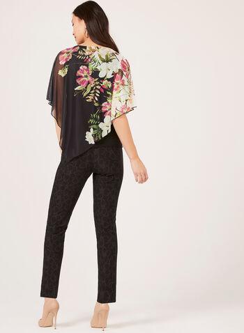 Floral Print Poncho Blouse, Black, hi-res