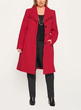 Double Collar Wool Like Coat, Red, hi-res