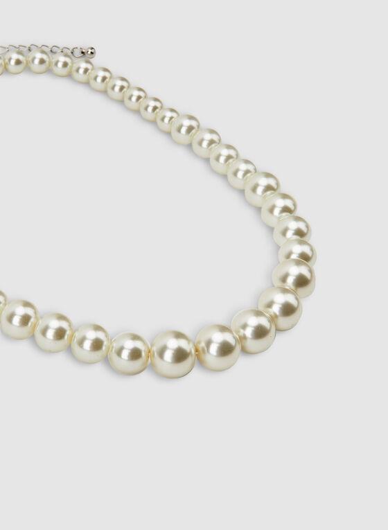 Collier court en perles, Blanc cassé
