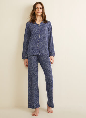 Claudel Lingerie - Printed Pyjama Set, Blue,  spring summer 2020, soft, stretchy fabric, printed