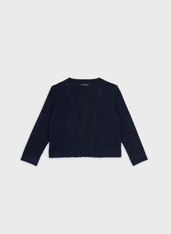 Nina Leonard - Ottoman Bolero, Blue,  Open front, knit, ¾ sleeves, spring 2019
