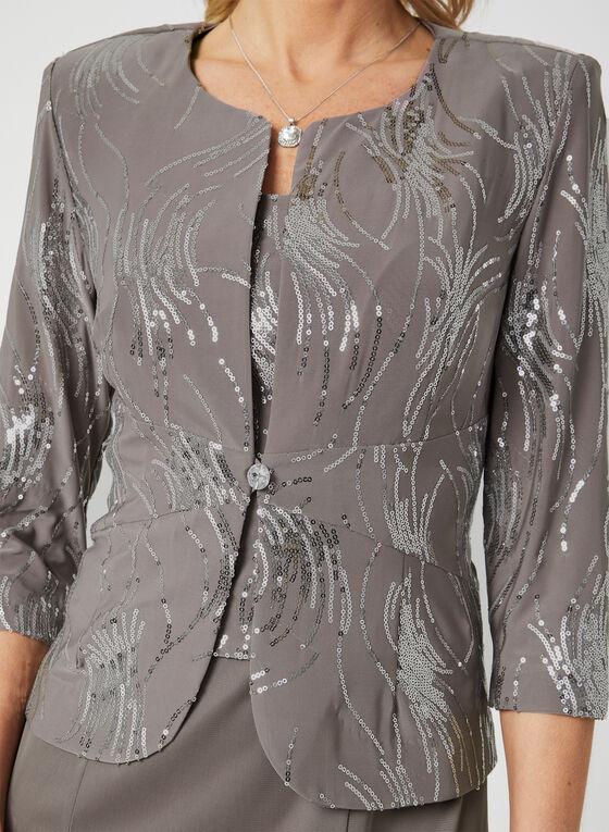 Alex Evenings - Sequin Dress & Jacket Set, Grey, hi-res