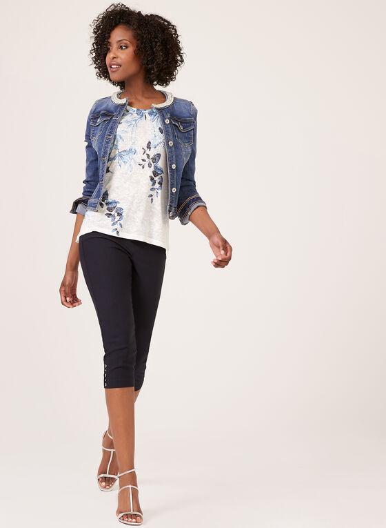 Burnout Leaf Print T-Shirt, Blue, hi-res