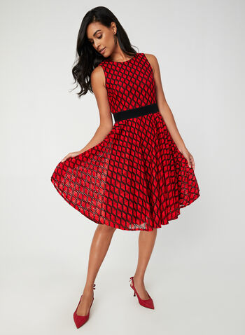 Fit & Flare Dress With Belt, Red,  day dress, sleeveless, belt, diamond, fall 2019, winter 2019
