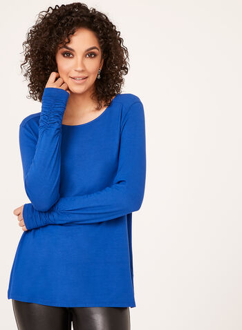 Ruched Cuff Long Sleeve Top, Blue, hi-res