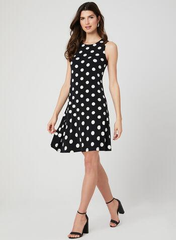 Polka Dot Print Sleeveless Dress, Black, hi-res,  trapeze, shift, jersey, spring 2019