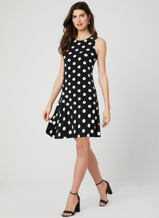Polka Dot Print Sleeveless Dress, Black, hi-res