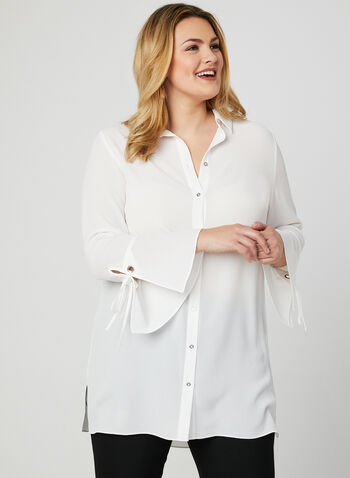 Button Down Crepe Blouse, Off White, hi-res