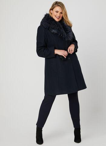 Manteau en laine avec col de fausse fourrure , Bleu, hi-res