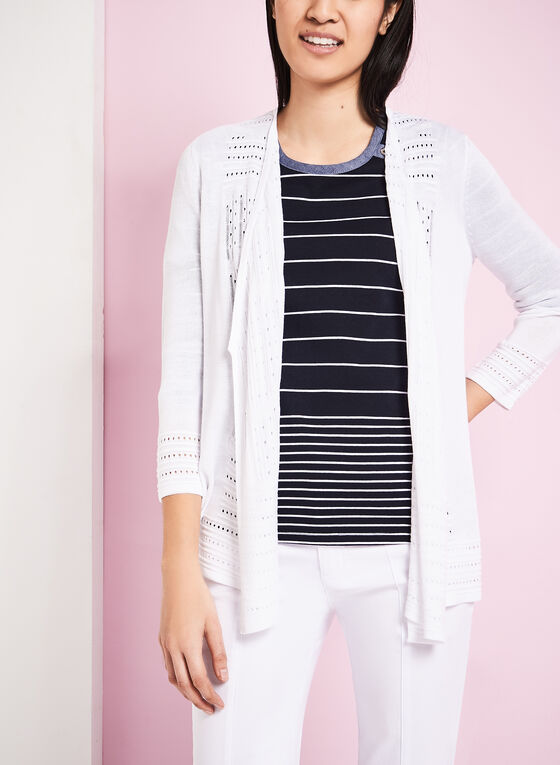 3/4 Sleeve Pointelle Knit Cardigan, White, hi-res