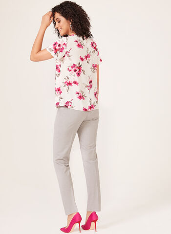 Floral Print Popover Crepe Blouse, White, hi-res