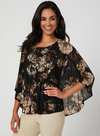 Blouse poncho en maille filet fleurie, Noir, hi-res,  blouse, maille filet, poncho, fleurs, jersey, automne hiver 2019