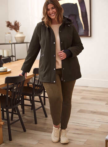 Softshell Anorak Coat, Green,  fall winter 2021, outerwear, coat, jacket, anorak, softshell, soft shell, stand collar, hood, detachable hood, removable hood, front zip, zip front, snap buttons, buttons, long sleeves, knit cuffs, thumb holes, gathered, pockets, fleece, fleece lining, water repellent, wind resistant, raincoat, rain coat, windbreaker