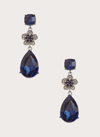Flower & Teardrop Dangle Earrings, Blue, hi-res