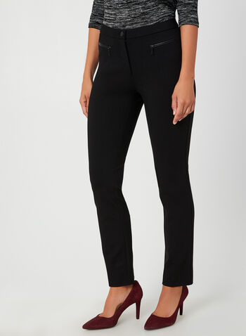 Signature Fit Straight Leg Pants , Black, hi-res,  high rise, zippers, straight leg, faux pockets, fall 2019, winter 2019
