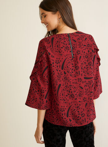 Printed Ruffle Sleeve Blouse, Red,  Fall winter 2020, blouse, print, abstract, crepe, floral, 3/4 sleeve, ruffled