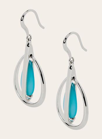 Boucles d'oreilles à pendants en goutte d'eau , Bleu, hi-res