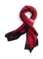 Foulard ombré à bordures contrastantes, Rouge, hi-res